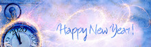 Happy New Year 2020 - Abstract Background With Clock, Fireworks And Snow - Panorama, Banner, Header With Copy Space - Congratulations, Greeting Card
