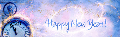 Fototapeta Happy New Year 2020 - Abstract background with clock, fireworks and snow - Panorama, banner, header with copy space - Congratulations, greeting card obraz