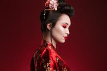 Image Of Charming Geisha Woman In Japanese Kimono Looking Downward