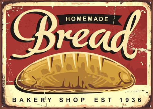 Fotografia Homemade bread vintage ad or sign design for traditional bakery shop with whole bread on red background