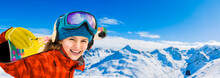 Young Girl With Ski In Winter ...