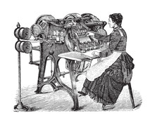 Old Wire Stitching Machine / Vintage Illustration From Brockhaus Konversations-Lexikon 1908