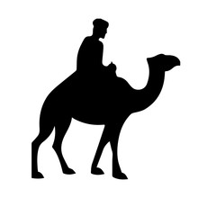 Camel With Rider Silhouette Is...