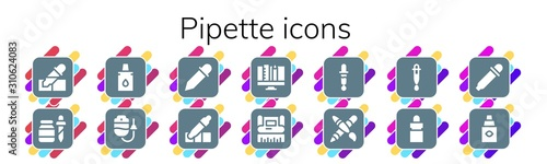 Fotomural  pipette icon set