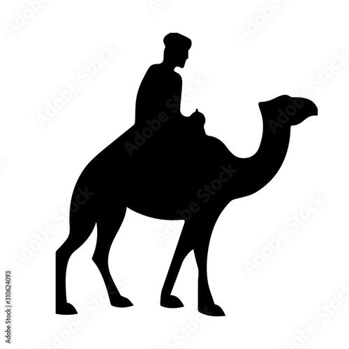 Camel with rider silhouette isolated on white background cartoon illustration Tapéta, Fotótapéta