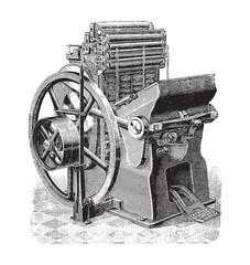 Old printing press / vintage illustration from Brockhaus Konversations-Lexiko...