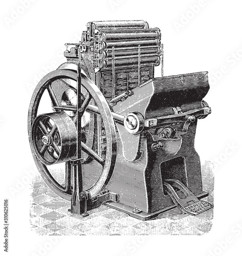 Valokuva Old printing press / vintage illustration from Brockhaus Konversations-Lexikon 1