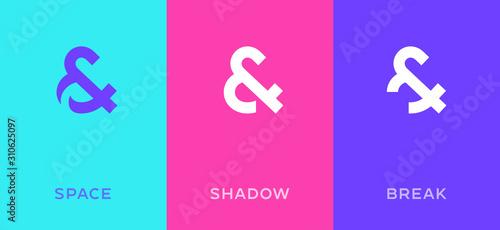Photo Set of symbol & and ampersand minimal logo icon design template elements