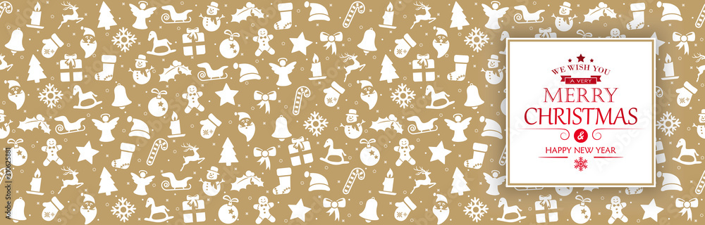 background banner with christmas icons and greetings
