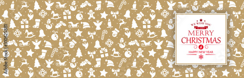 Obraz background banner with christmas icons and greetings - fototapety do salonu