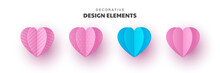 Decorative Paper Cut Hearts In Pink And Blue Colors. 3d Design Elements For Valentines Holidays, Wedding, Birthday Party. Isolated Vector.