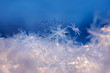 Leinwanddruck Bild - Snowflakes close-up. Macro photo. The concept of winter, cold, beauty of nature. Copy space..