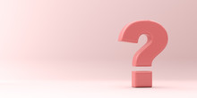 Large Pink Question Mark On A Pink Background. 3d Render Illustration.