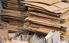 Flattened Cardboard Boxes Being Recycled
