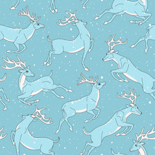 Running Blue Deer With White Horns. Seamless Pattern With Horned Deers And Snowfall.
