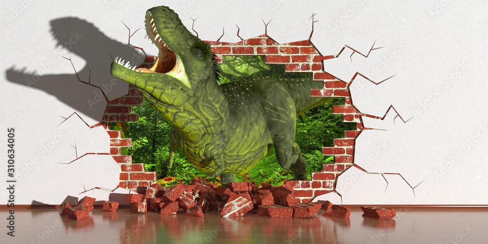dinosaur crawling out of a fault in the wall