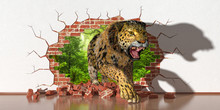 Leopard Emerging From A Fault In The Wall