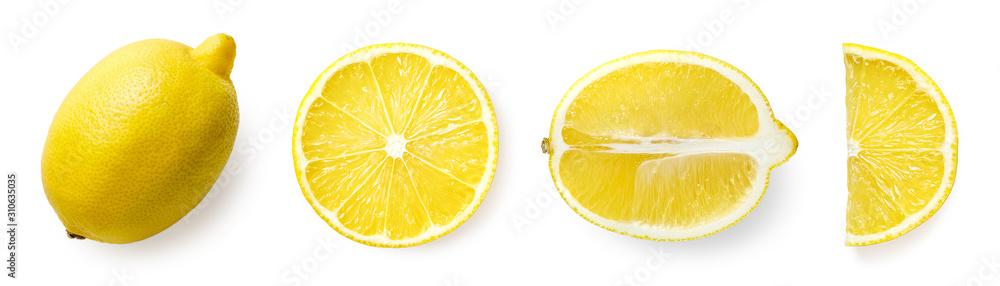 Fototapeta Fresh whole, half and sliced lemon