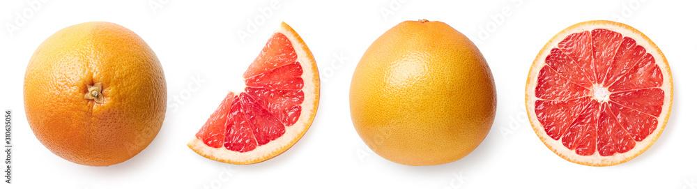 Fotografie, Obraz Fresh whole, half and sliced grapefruit