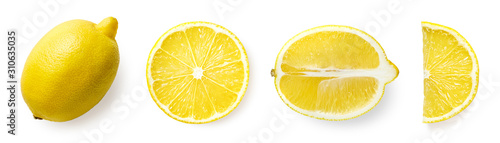 Fotografia Fresh whole, half and sliced lemon