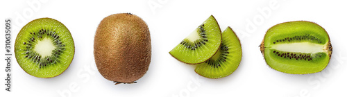 Fotografie, Obraz Fresh whole, half and sliced kiwi fruit