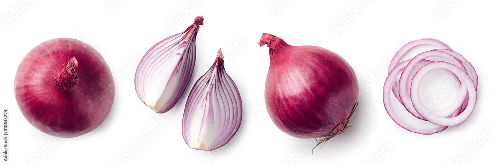 Fototapeta Fresh whole and sliced red onion