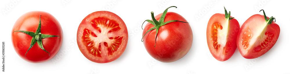 Fototapeta Fresh whole, half and sliced red tomato