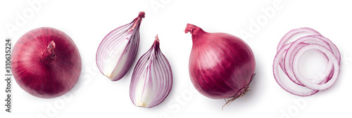 Fresh whole and sliced red onion Fototapet