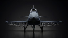 Eurofighter Typhoon Airplane Fighter Jet Fully Loaded  In Dark Background Front View 3d Render