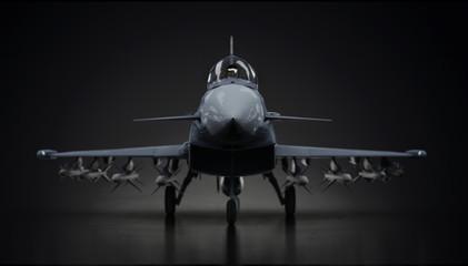 Eurofighter-tajfun avionski lovački avion potpuno napunjen u tamnoj pozadini pogled od prednjeg 3D prikaza