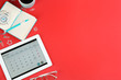 Leinwanddruck Bild - Modern tablet with calendar app on red background, flat lay. Space for text