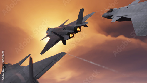 Fototapeta Chinese stealth military fighter jets flying together back view 3d render obraz