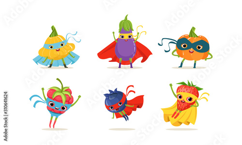 Vegetable and Berry Superheros Rushing to the Rescue Vector Set Canvas Print