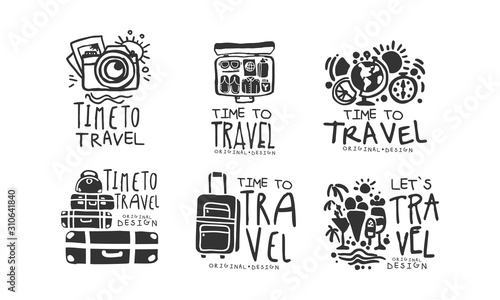 Valokuva Time to Travel Labels or Logos Original Design Vector Set