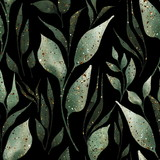 Green leaves and branches seamless pattern on black. Watercolor illustration - 310643096