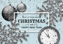 Merry Christmas Background With Shiny Snowflakes, Silver Balls, Clock And Grey Colored Tinsel And Streamer. Greeting Card And Xmas Template. Five Minutes To Midnight