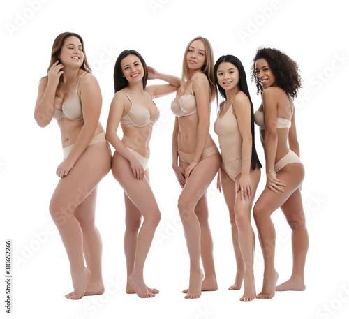 Fototapeta Group of women with different body types in underwear on white background obraz na płótnie