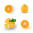 slice of orange fruit isolated on white background