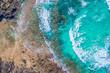 Fuerteventura. Vulcano Beach. Waves. Top View of a drone at the Bay. Spain