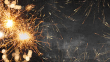 Silvester Background - Firework On Rustic Dark Black Grey Stone Concrete Texture, With Space For Text