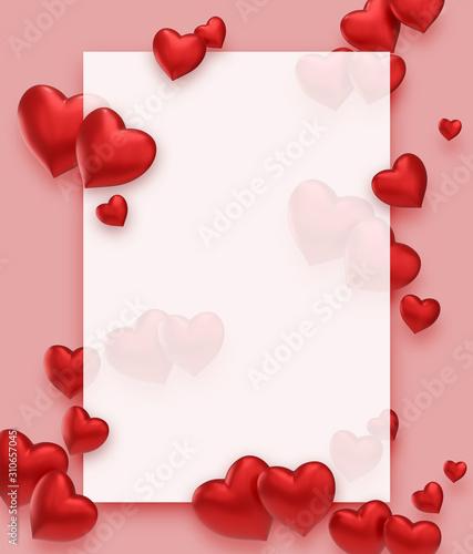 Obraz frame with hearts - fototapety do salonu