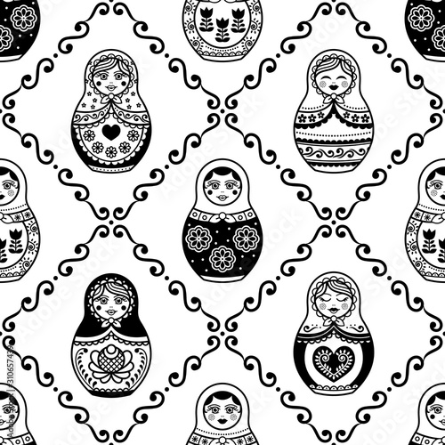 Photo Russian nesting doll vector seamless pattern, repetitive design inpisred by Matr