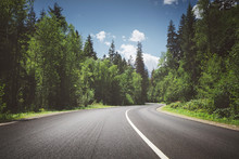 Country Road Through Forest. S...