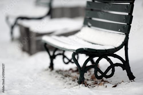 Fotografie, Tablou  banc de parc en hiver