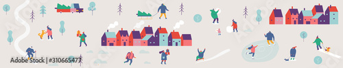 Photo Winter city with people horizontal banner