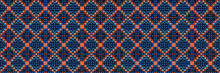 Classic Blue Floral Diamond Check Symmetry Motif Banner Background. Dark Abstract Flower Dot Mosaic Seamless Border Pattern. Geometric Pixel Effect Checkerboard Indigo Ribbon Trim Edging. EPS 10