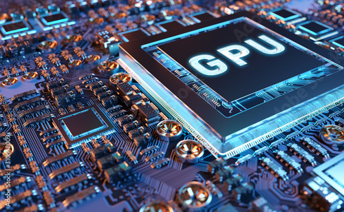 Close-up view of a modern GPU card with circuit 3D rendering Canvas Print