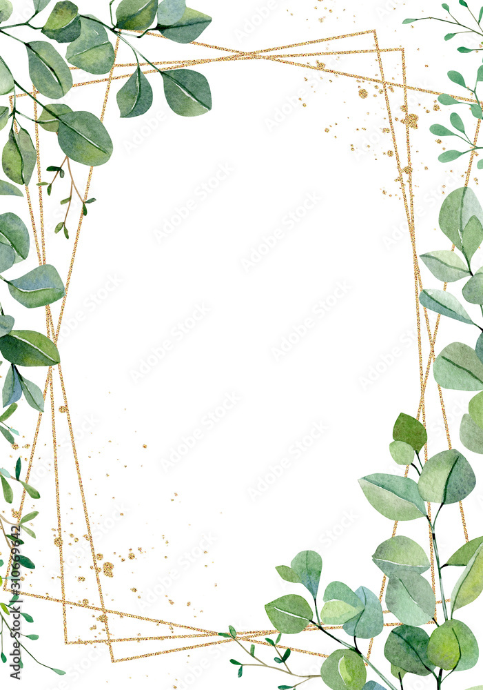 Fototapeta Watercolor hand painted greenery plants and nature eco design wedding card. Floral branches and leaves silver dollar eucalyptus and garden plants. Illustration for design, banner , greeting card.