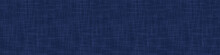 Classic Blue French Linen Texture Banner Background. Dark Denim Blu Dye Fibre Seamless Border Pattern. Organic Yarn Close Up Weave Effect Fabric For Masculine Jeans Textile Ribbon Trim Edging. EPS10