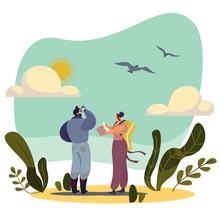 Birdwatching People Cartoon Ch...